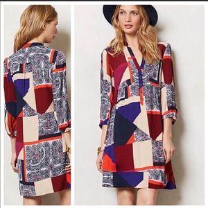Maeve Anthropologie Taryn Crepe Patchwork Dress